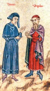"""Dante and Virgil in Conversation,"" from Oxford: Bodleian Library, MS. Holkham Misc. 48, p. 67. © Bodleian Library, University of Oxford."
