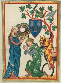 Cod. Pal. germ. 848, Große Heidelberger Liederhandschrift (Codex Manesse), Zürich, c.1300-c.1340, fol. 82v.