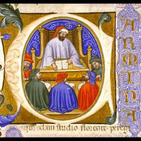 Historiated initial from Boethius, On the Consolation of Philosophy, Italy c.1385. Glasgow University Libr