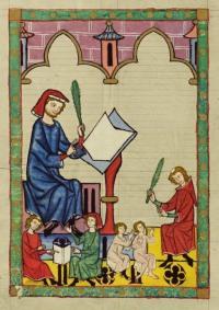 Der Schulmeister von Eßlingen, from Heidelberg, Cod. Pal. germ. 848, Große Heidelberger Liederhandschrift (Codex Manesse), Zürich, c.1300-c.1340, fol. 292v.