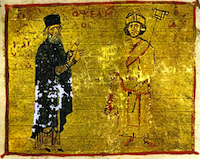 Michael Psellos (left) with his student, Byzantine Emperor Michael VII Doukas., Mount Athos, Pantokrator Monastery, Codex 234, fol. 245a