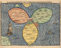Bünting clover-leaf map. A woodcut made in 1581 in Magdeburg.