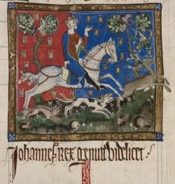A 14th-century manuscript image of King John hunting (London, British Library, Cotton MS Claudius D II, f. 116r)