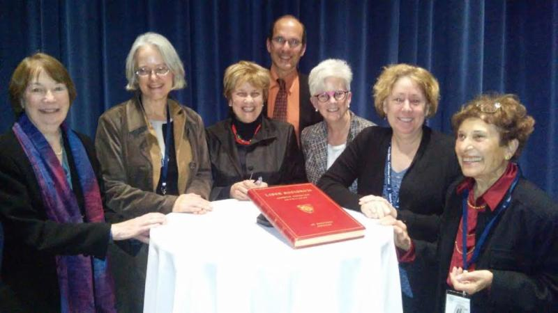 The 2015 Class of Fellows of the Medieval Academy (L-R): Katherine O'Brien O'Keeffe, Sharon Farmer, Margot Fassler, David Nirenberg, Maureen Miller, Robin Fleming, and Helen Damico (not pictured: Richard Kaeuper, Anders Winroth, and Corresponding Fellows Paul Brand, Constant Mews, and Felicity Riddy)