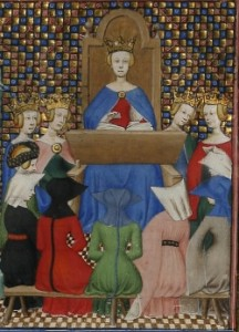 Boston Public Library, MS f. Med. 101, f. 1r detail, Christine de Pizan, Le livre des trois vertus